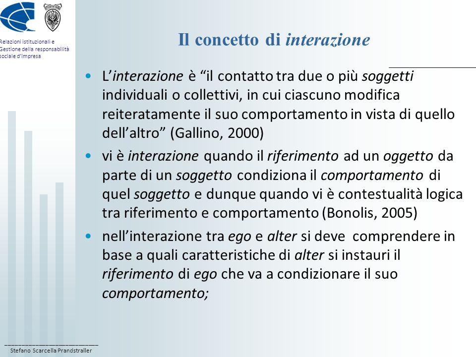 ____________________________ Stefano Scarcella Prandstraller Relazioni istituzionali e Gestione della responsabilità sociale dimpresa Il concetto di interazione Linterazione è il contatto tra due o più soggetti individuali o collettivi, in cui ciascuno modifica reiteratamente il suo comportamento in vista di quello dellaltro (Gallino, 2000) vi è interazione quando il riferimento ad un oggetto da parte di un soggetto condiziona il comportamento di quel soggetto e dunque quando vi è contestualità logica tra riferimento e comportamento (Bonolis, 2005) nellinterazione tra ego e alter si deve comprendere in base a quali caratteristiche di alter si instauri il riferimento di ego che va a condizionare il suo comportamento;