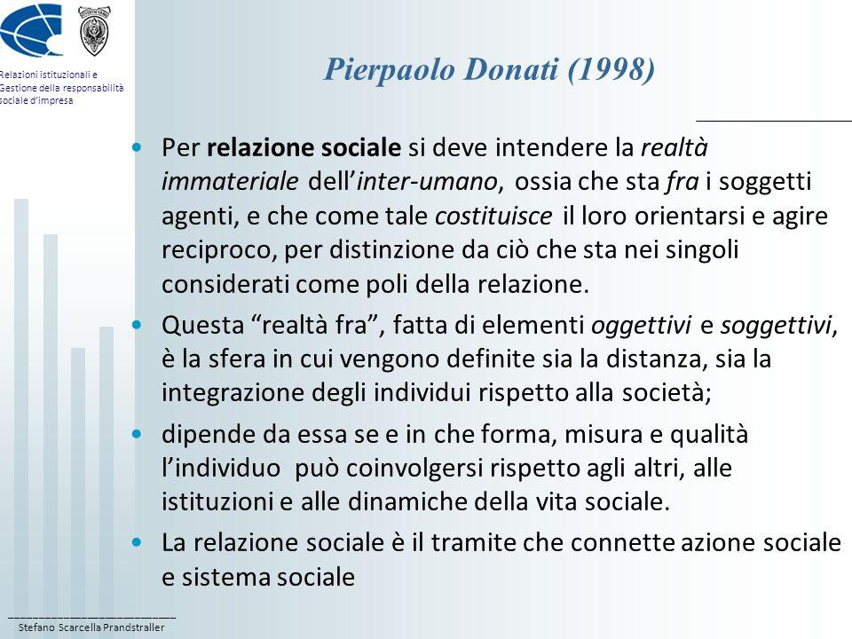 ____________________________ Stefano Scarcella Prandstraller Relazioni istituzionali e Gestione della responsabilità sociale dimpresa Pierpaolo Donati (1998) Per relazione sociale si deve intendere la realtà immateriale dellinter-umano, ossia che sta fra i soggetti agenti, e che come tale costituisce il loro orientarsi e agire reciproco, per distinzione da ciò che sta nei singoli considerati come poli della relazione.
