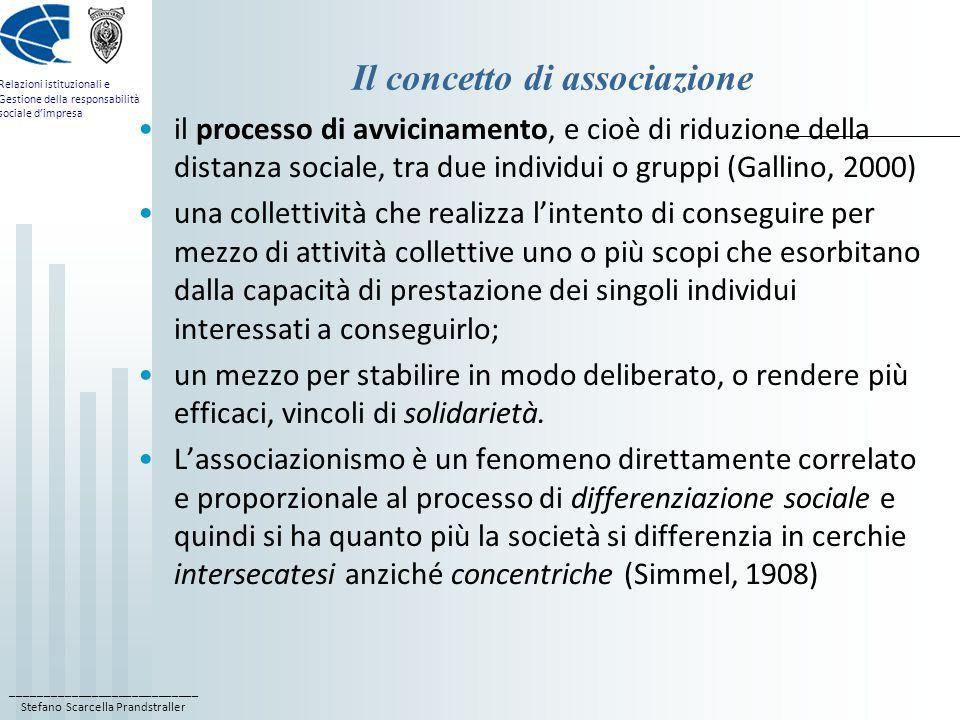 ____________________________ Stefano Scarcella Prandstraller Relazioni istituzionali e Gestione della responsabilità sociale dimpresa Il concetto di associazione il processo di avvicinamento, e cioè di riduzione della distanza sociale, tra due individui o gruppi (Gallino, 2000) una collettività che realizza lintento di conseguire per mezzo di attività collettive uno o più scopi che esorbitano dalla capacità di prestazione dei singoli individui interessati a conseguirlo; un mezzo per stabilire in modo deliberato, o rendere più efficaci, vincoli di solidarietà.