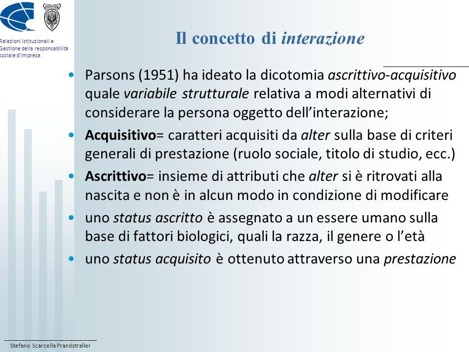 ____________________________ Stefano Scarcella Prandstraller Relazioni istituzionali e Gestione della responsabilità sociale dimpresa Il concetto di interazione Parsons (1951) ha ideato la dicotomia ascrittivo-acquisitivo quale variabile strutturale relativa a modi alternativi di considerare la persona oggetto dellinterazione; Acquisitivo= caratteri acquisiti da alter sulla base di criteri generali di prestazione (ruolo sociale, titolo di studio, ecc.) Ascrittivo= insieme di attributi che alter si è ritrovati alla nascita e non è in alcun modo in condizione di modificare uno status ascritto è assegnato a un essere umano sulla base di fattori biologici, quali la razza, il genere o letà uno status acquisito è ottenuto attraverso una prestazione