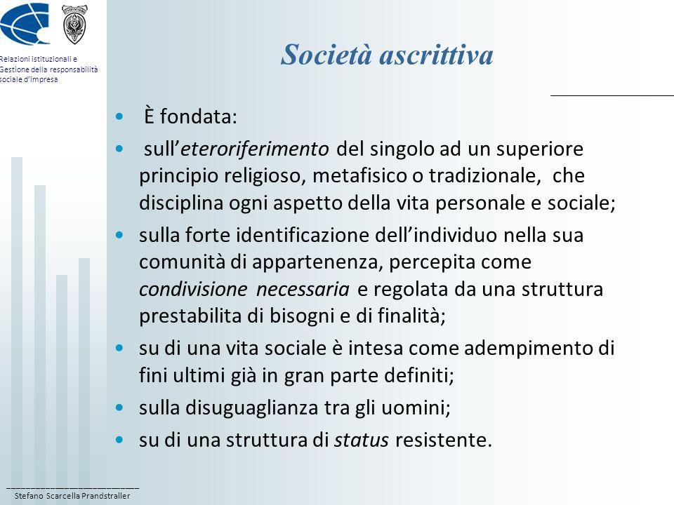 ____________________________ Stefano Scarcella Prandstraller Relazioni istituzionali e Gestione della responsabilità sociale dimpresa Società ascrittiva È fondata: sulleteroriferimento del singolo ad un superiore principio religioso, metafisico o tradizionale, che disciplina ogni aspetto della vita personale e sociale; sulla forte identificazione dellindividuo nella sua comunità di appartenenza, percepita come condivisione necessaria e regolata da una struttura prestabilita di bisogni e di finalità; su di una vita sociale è intesa come adempimento di fini ultimi già in gran parte definiti; sulla disuguaglianza tra gli uomini; su di una struttura di status resistente.