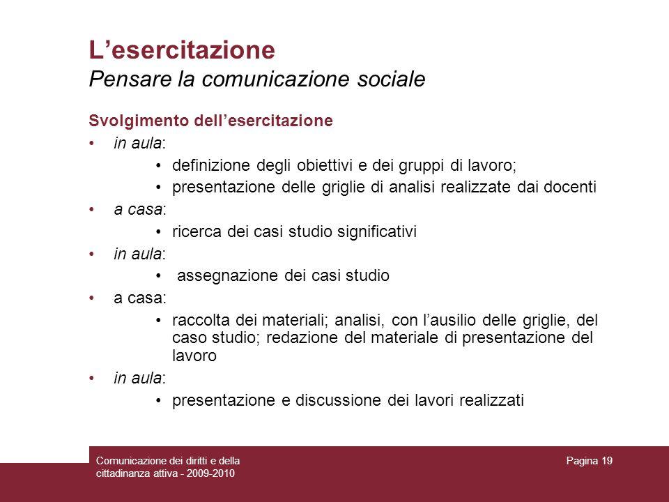Comunicazione dei diritti e della cittadinanza attiva - 2009-2010 Pagina 19 Lesercitazione Pensare la comunicazione sociale Svolgimento dellesercitazi