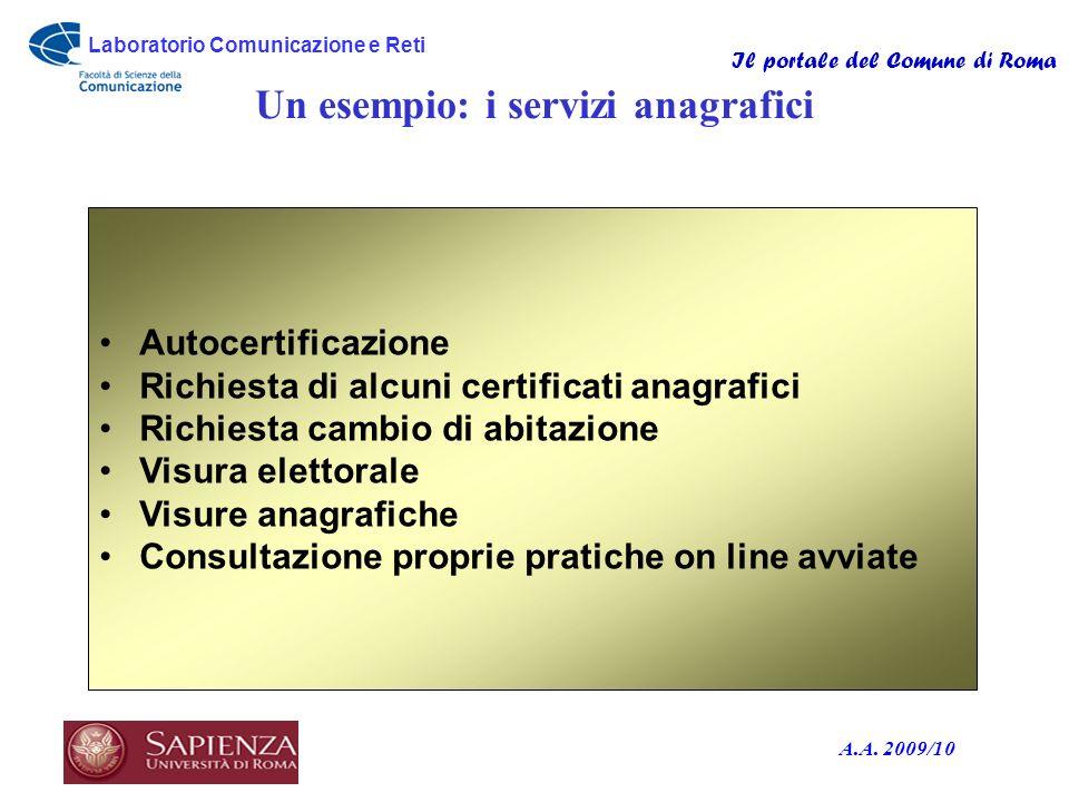 Laboratorio Comunicazione e Reti Il portale del Comune di Roma A.A. 2009/10 Un esempio: i servizi anagrafici Autocertificazione Richiesta di alcuni ce