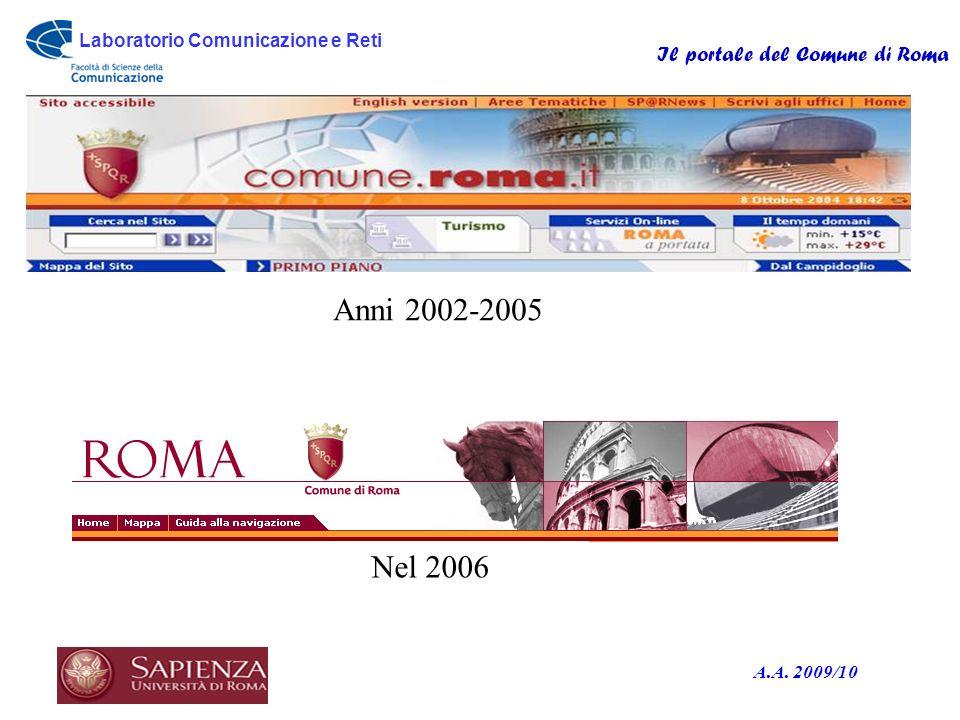 Laboratorio Comunicazione e Reti Il portale del Comune di Roma A.A. 2009/10 o Anni 2002-2005 Nel 2006