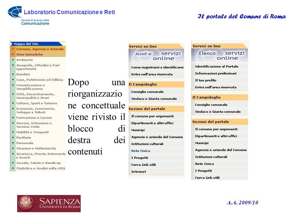 Laboratorio Comunicazione e Reti Il portale del Comune di Roma A.A. 2009/10 o Dopo una riorganizzazio ne concettuale viene rivisto il blocco di destra