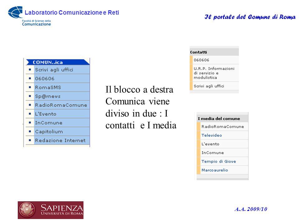 Laboratorio Comunicazione e Reti Il portale del Comune di Roma A.A. 2009/10 Il blocco a destra Comunica viene diviso in due : I contatti e I media
