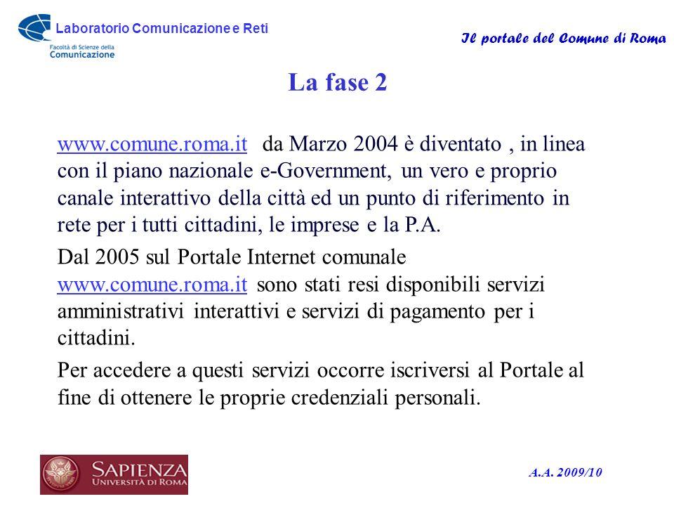 Laboratorio Comunicazione e Reti Il portale del Comune di Roma A.A. 2009/10 La fase 2 www.comune.roma.itwww.comune.roma.it da Marzo 2004 è diventato,