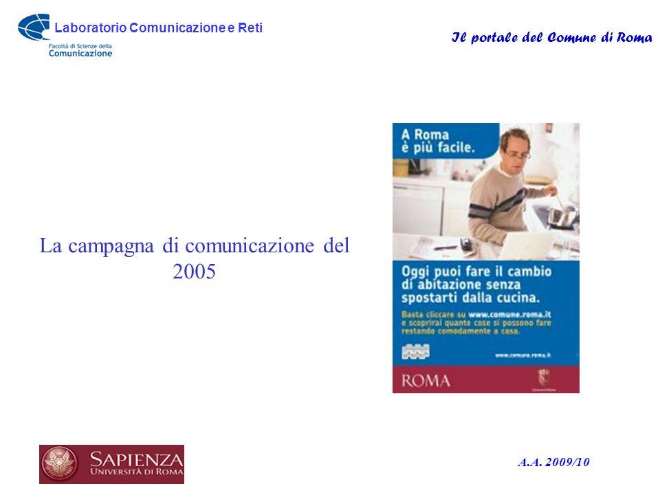 Laboratorio Comunicazione e Reti Il portale del Comune di Roma A.A. 2009/10 La campagna di comunicazione del 2005