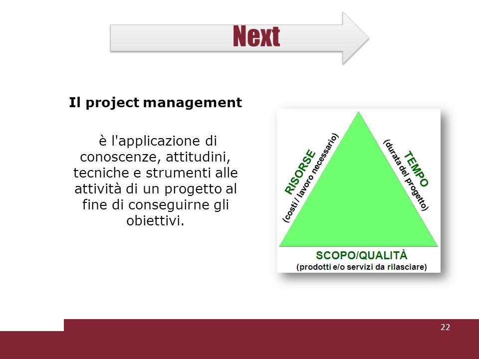 Next Il project management è l'applicazione di conoscenze, attitudini, tecniche e strumenti alle attività di un progetto al fine di conseguirne gli ob