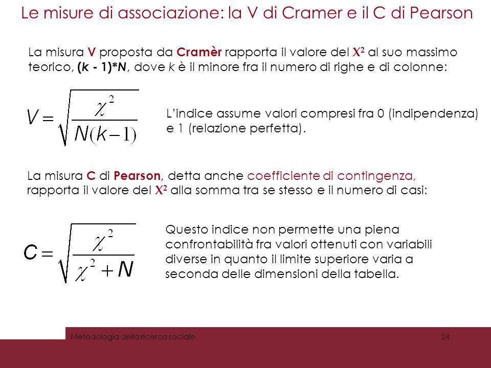 Le misure di associazione: la V di Cramer e il C di Pearson 24Metodologia della ricerca sociale La misura V proposta da Cramèr rapporta il valore del