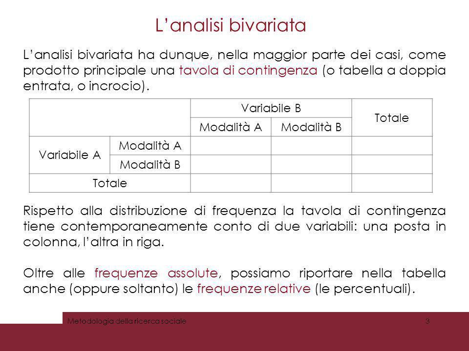 Lanalisi bivariata Lanalisi bivariata ha dunque, nella maggior parte dei casi, come prodotto principale una tavola di contingenza (o tabella a doppia