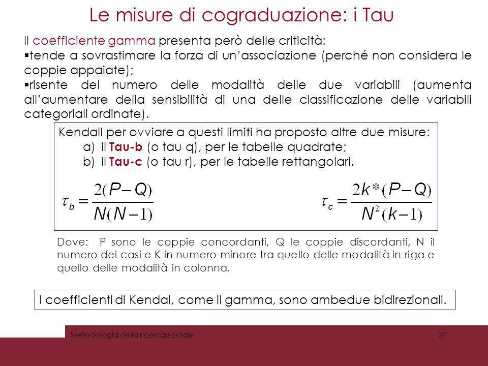 Le misure di cograduazione: i Tau 37Metodologia della ricerca sociale Kendall per ovviare a questi limiti ha proposto altre due misure: a)il Tau-b (o
