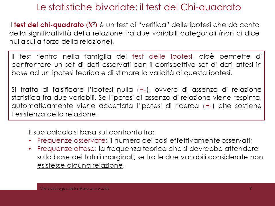 Misurare lassociazione tra due variabili Le statistiche bivariate: il test del Chi-quadrato Il test del chi-quadrato (Х 2 ) è un test di verifica dell