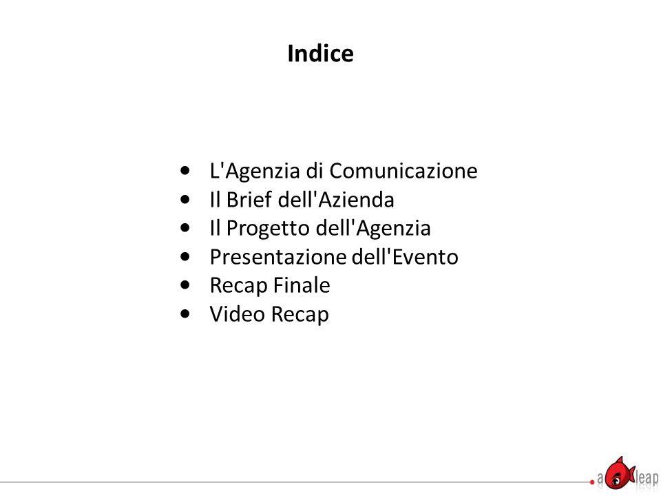 Indice L Agenzia di Comunicazione Il Brief dell Azienda Il Progetto dell Agenzia Presentazione dell Evento Recap Finale Video Recap