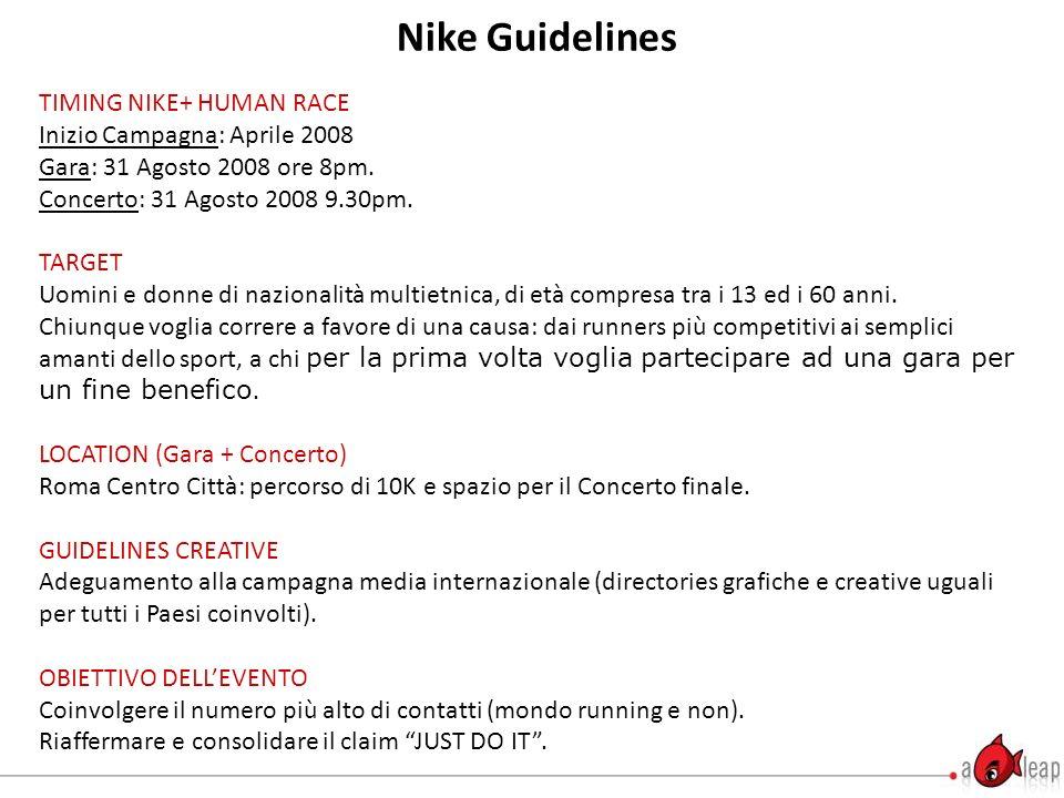 Nike Guidelines TIMING NIKE+ HUMAN RACE Inizio Campagna: Aprile 2008 Gara: 31 Agosto 2008 ore 8pm.