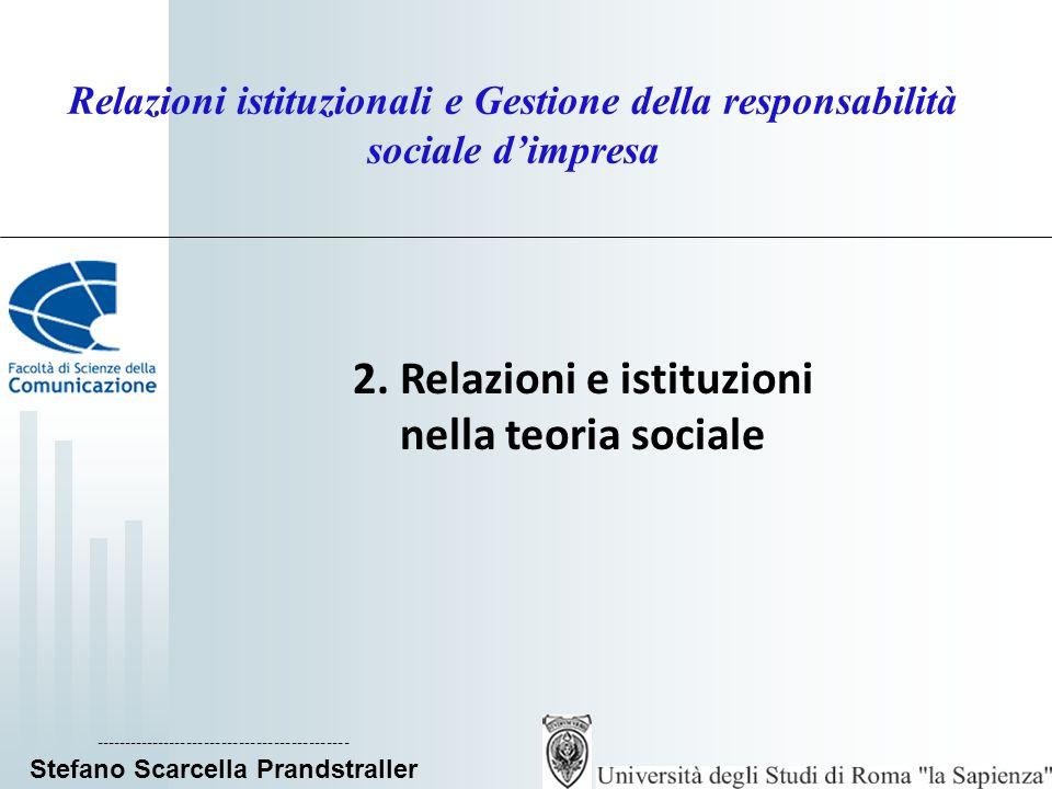 Relazioni istituzionali e Gestione della responsabilità sociale dimpresa 2. Relazioni e istituzioni nella teoria sociale -----------------------------