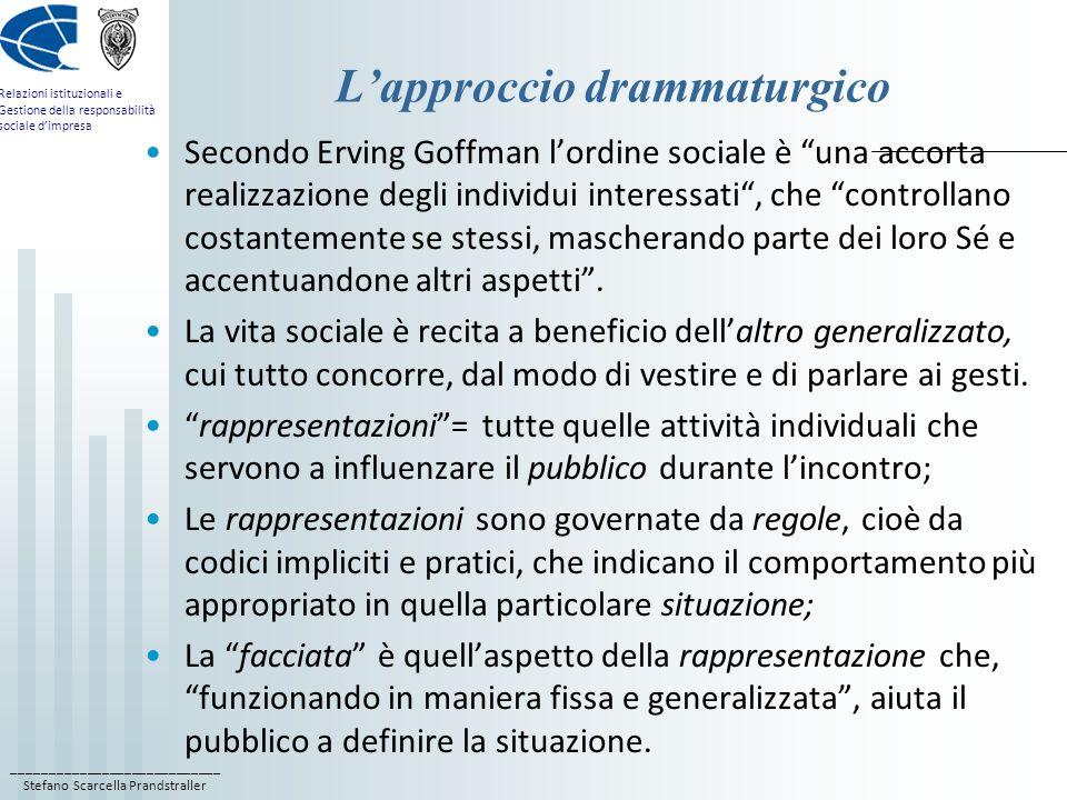 ____________________________ Stefano Scarcella Prandstraller Relazioni istituzionali e Gestione della responsabilità sociale dimpresa Lapproccio dramm