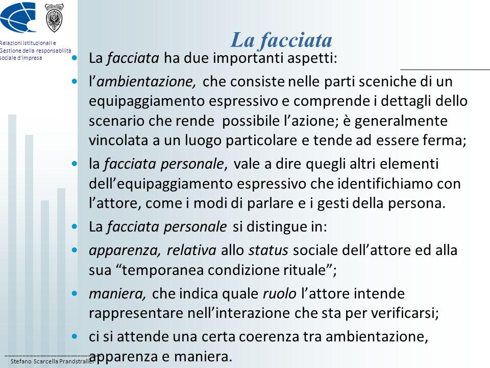 ____________________________ Stefano Scarcella Prandstraller Relazioni istituzionali e Gestione della responsabilità sociale dimpresa La facciata La f
