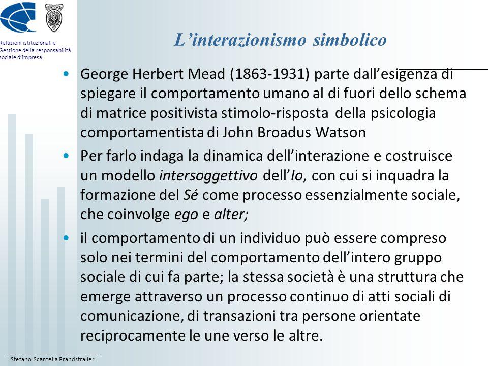 ____________________________ Stefano Scarcella Prandstraller Relazioni istituzionali e Gestione della responsabilità sociale dimpresa Linterazionismo