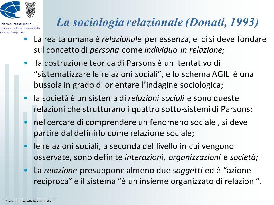 ____________________________ Stefano Scarcella Prandstraller Relazioni istituzionali e Gestione della responsabilità sociale dimpresa La sociologia re