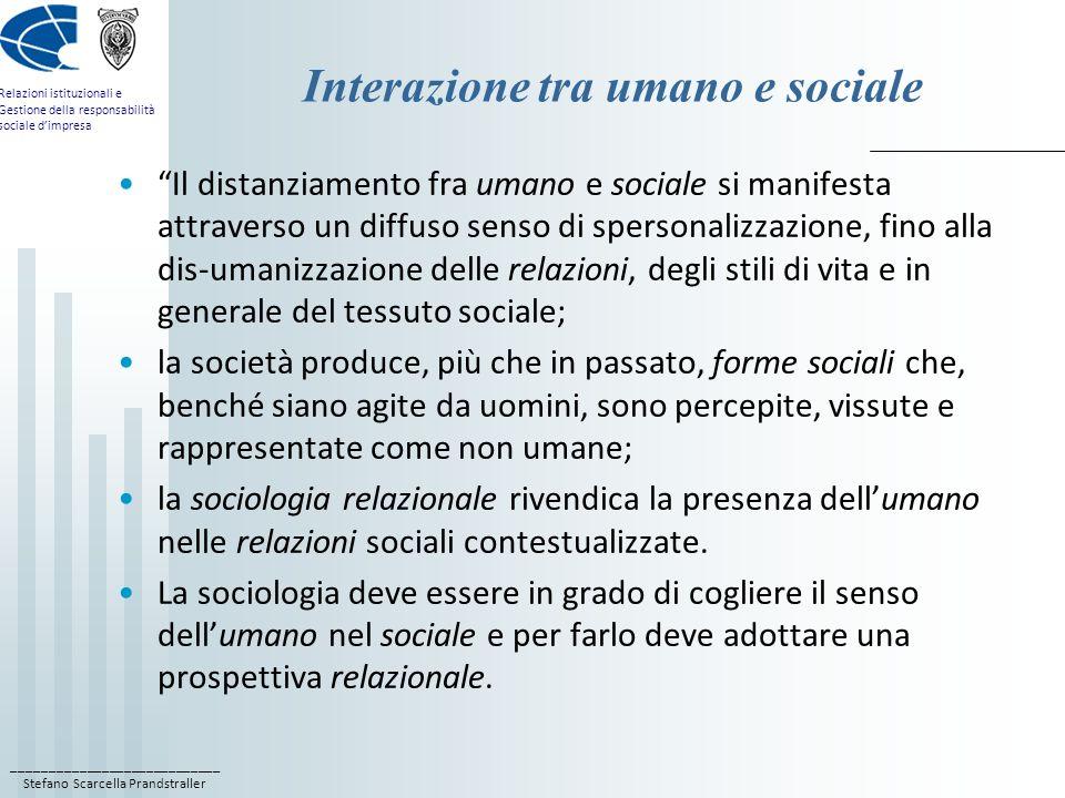____________________________ Stefano Scarcella Prandstraller Relazioni istituzionali e Gestione della responsabilità sociale dimpresa Interazione tra