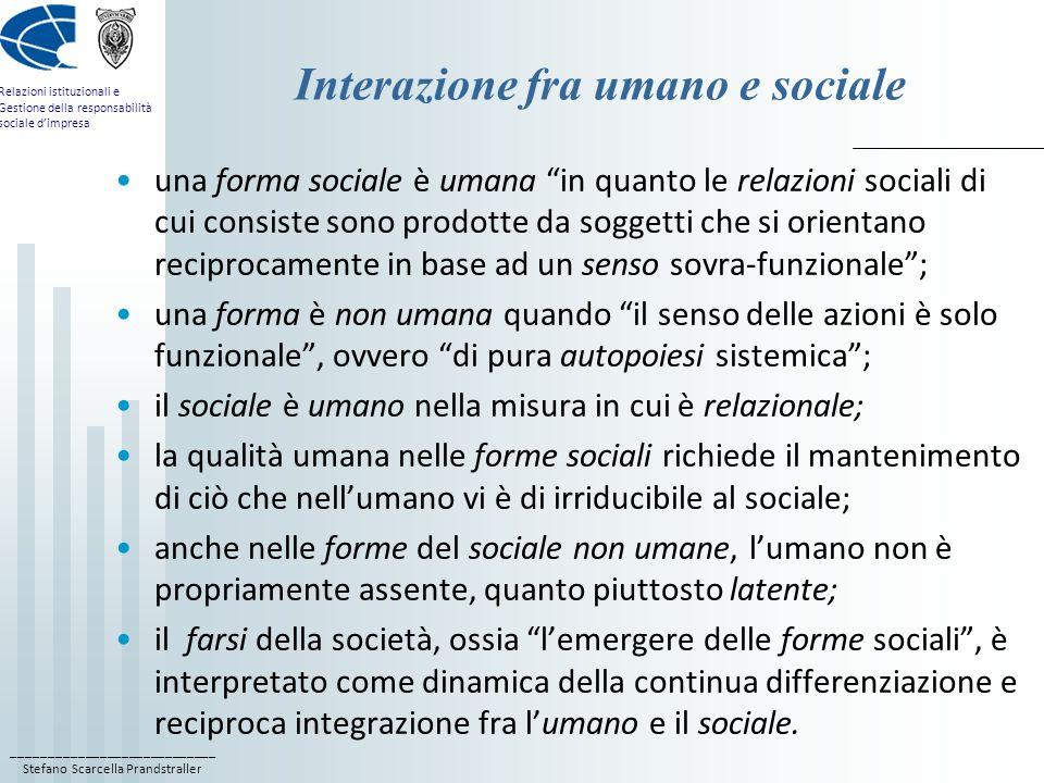 ____________________________ Stefano Scarcella Prandstraller Relazioni istituzionali e Gestione della responsabilità sociale dimpresa Interazione fra