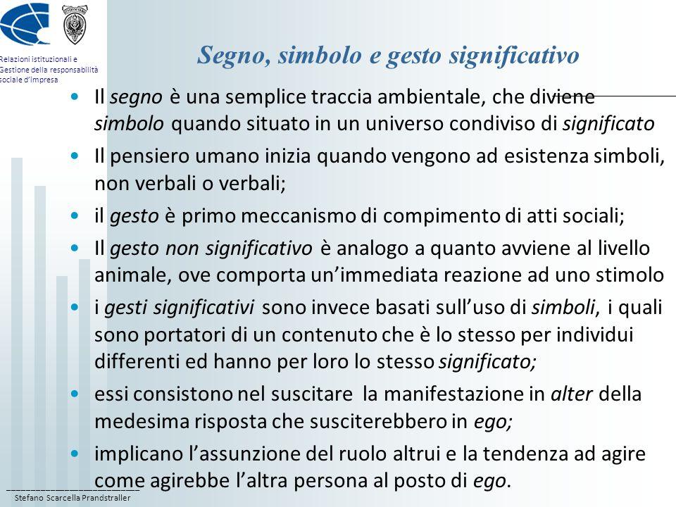 ____________________________ Stefano Scarcella Prandstraller Relazioni istituzionali e Gestione della responsabilità sociale dimpresa Segno, simbolo e