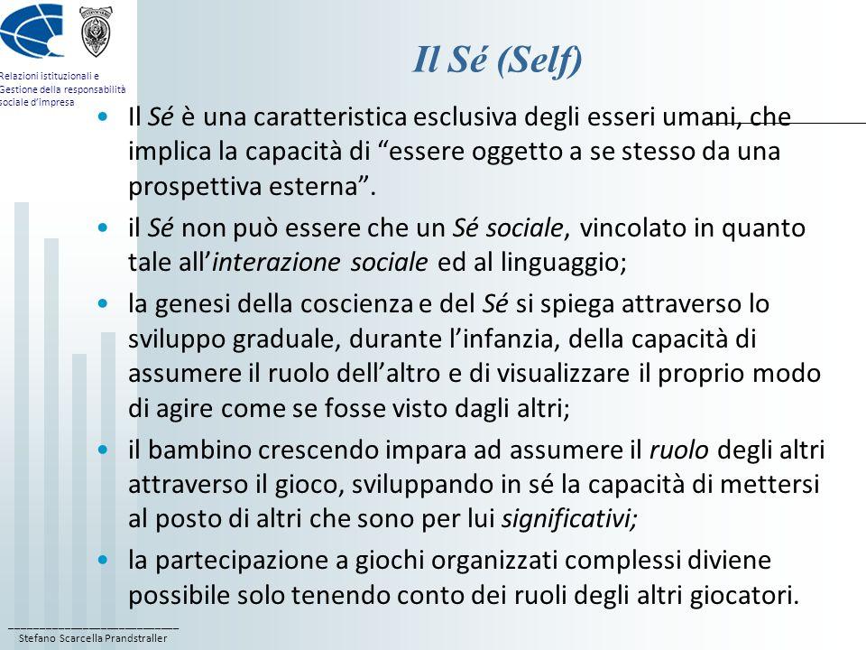 ____________________________ Stefano Scarcella Prandstraller Relazioni istituzionali e Gestione della responsabilità sociale dimpresa Il Sé (Self) Il