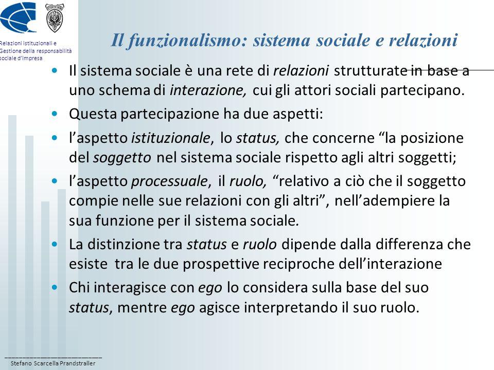 ____________________________ Stefano Scarcella Prandstraller Relazioni istituzionali e Gestione della responsabilità sociale dimpresa Il funzionalismo