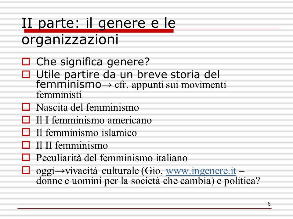 8 II parte: il genere e le organizzazioni Che significa genere.