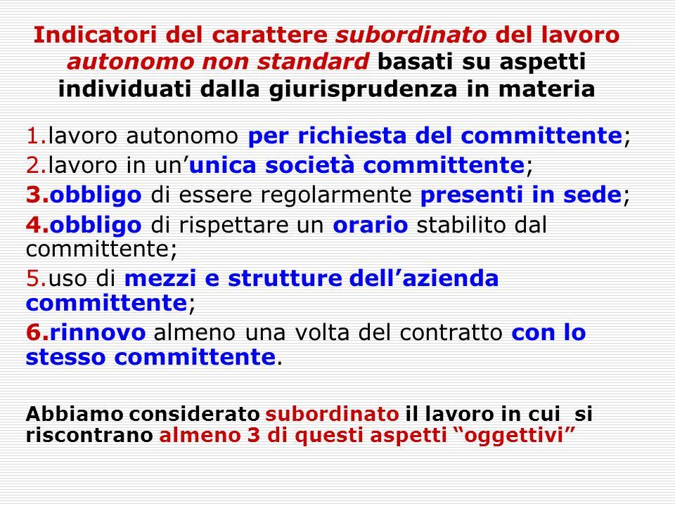 Indicatori del carattere subordinato del lavoro autonomo non standard basati su aspetti individuati dalla giurisprudenza in materia 1.lavoro autonomo