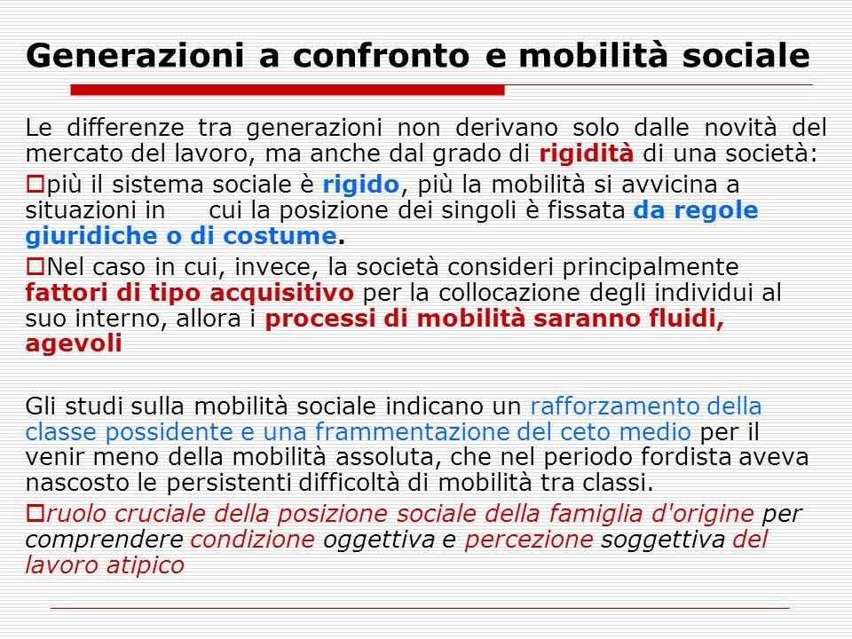 Generazioni a confronto e mobilità sociale Le differenze tra generazioni non derivano solo dalle novità del mercato del lavoro, ma anche dal grado di