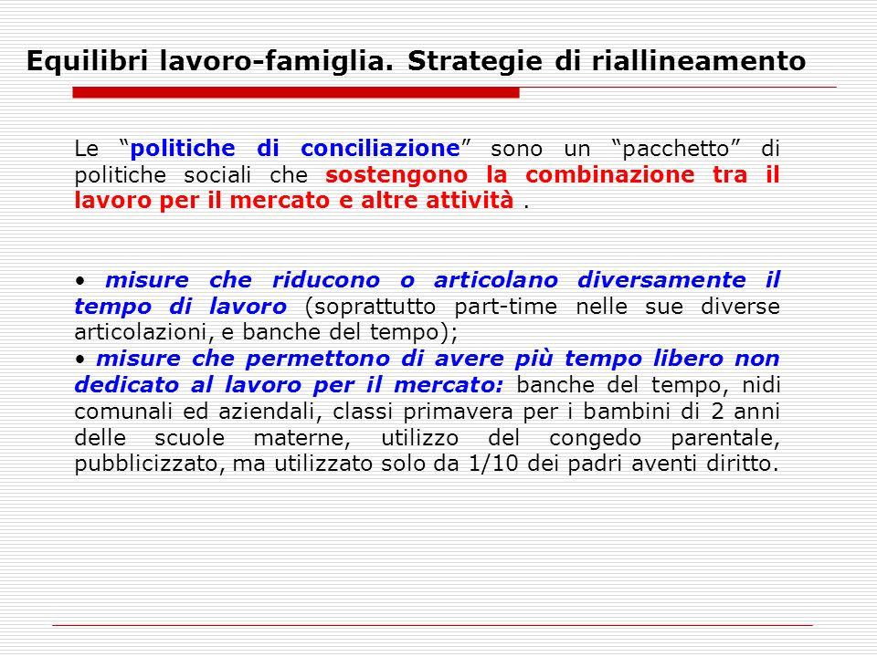 Equilibri lavoro-famiglia. Strategie di riallineamento Le politiche di conciliazione sono un pacchetto di politiche sociali che sostengono la combinaz