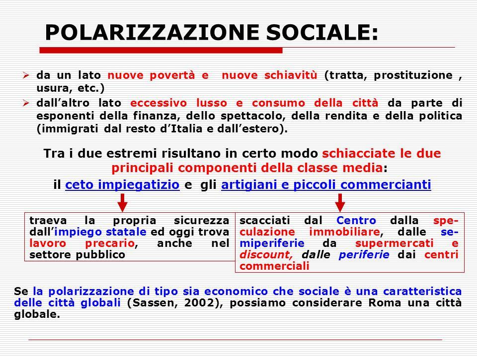 POLARIZZAZIONE SOCIALE: da un lato nuove povertà e nuove schiavitù (tratta, prostituzione, usura, etc.) dallaltro lato eccessivo lusso e consumo della