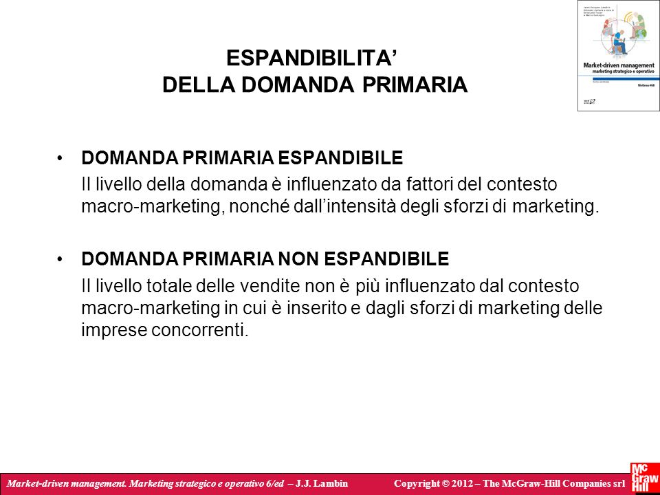 Market-driven management. Marketing strategico e operativo 6/ed – J.J. LambinCopyright © 2012 – The McGraw-Hill Companies srl ESPANDIBILITA DELLA DOMA