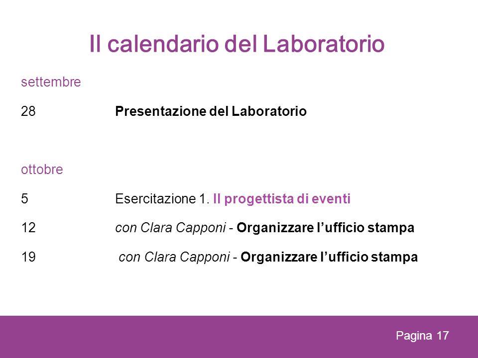 Il calendario del Laboratorio settembre 28 Presentazione del Laboratorio ottobre 5Esercitazione 1. Il progettista di eventi 12con Clara Capponi - Orga