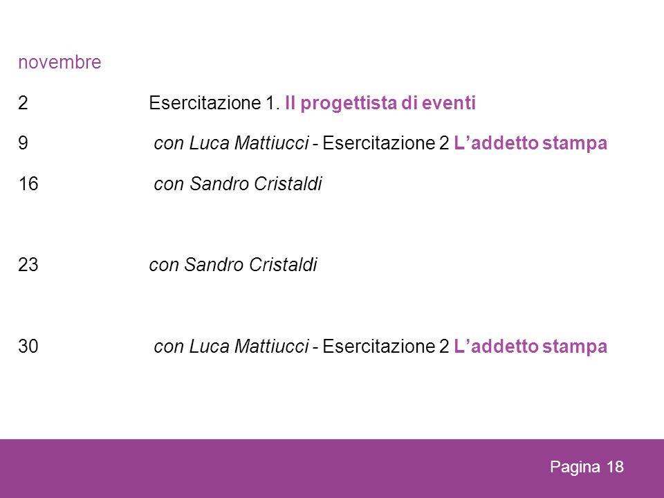 novembre 2 Esercitazione 1. Il progettista di eventi 9 con Luca Mattiucci - Esercitazione 2 Laddetto stampa 16 con Sandro Cristaldi 23con Sandro Crist