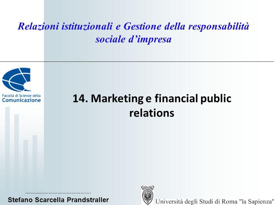 Relazioni istituzionali e Gestione della responsabilità sociale dimpresa 14. Marketing e financial public relations ----------------------------------