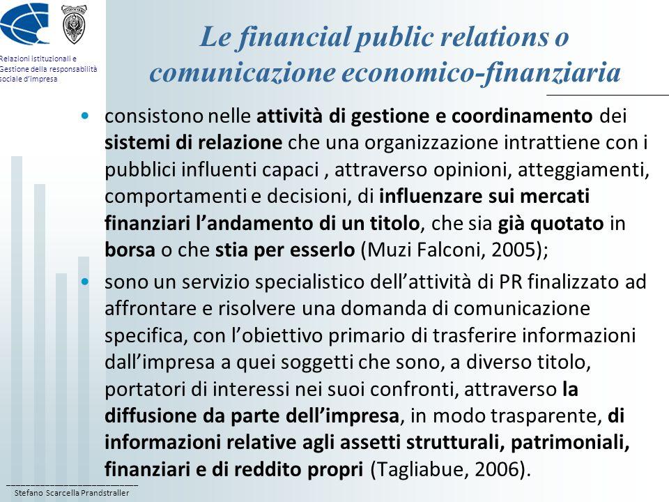 ____________________________ Stefano Scarcella Prandstraller Relazioni istituzionali e Gestione della responsabilità sociale dimpresa Le financial pub