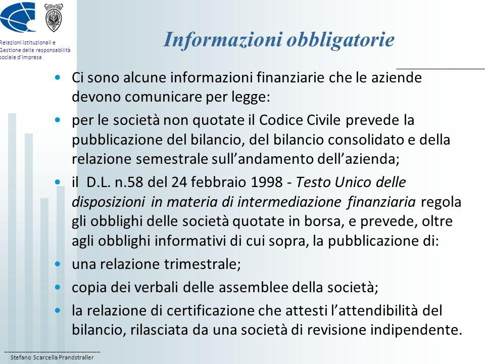 ____________________________ Stefano Scarcella Prandstraller Relazioni istituzionali e Gestione della responsabilità sociale dimpresa Lobbligo di informazione privilegiata La prima destinataria di queste informazioni è la CONSOB.