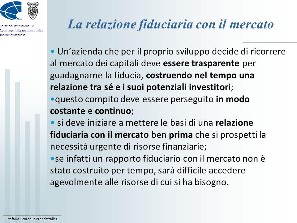 ____________________________ Stefano Scarcella Prandstraller Relazioni istituzionali e Gestione della responsabilità sociale dimpresa La relazione fid