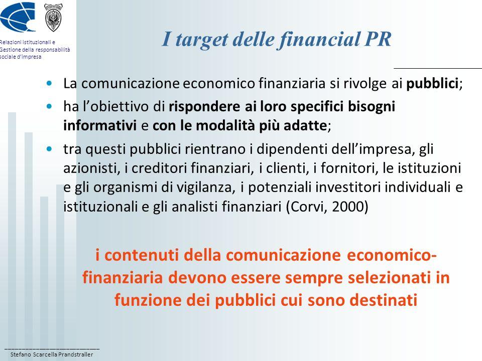 ____________________________ Stefano Scarcella Prandstraller Relazioni istituzionali e Gestione della responsabilità sociale dimpresa I target delle f