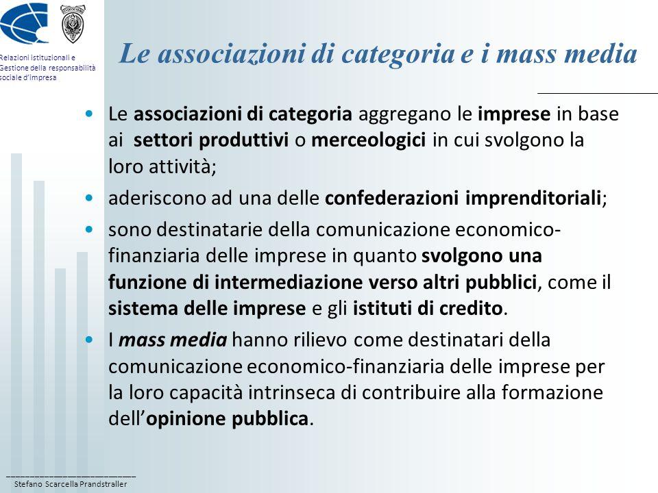 ____________________________ Stefano Scarcella Prandstraller Relazioni istituzionali e Gestione della responsabilità sociale dimpresa Le associazioni
