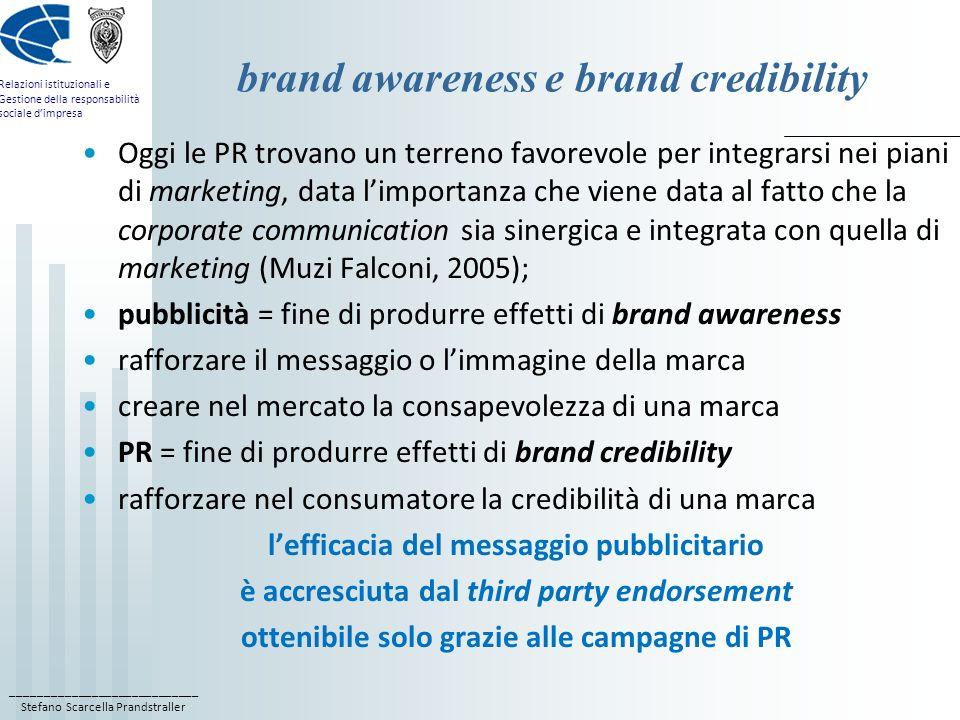 ____________________________ Stefano Scarcella Prandstraller Relazioni istituzionali e Gestione della responsabilità sociale dimpresa brand awareness