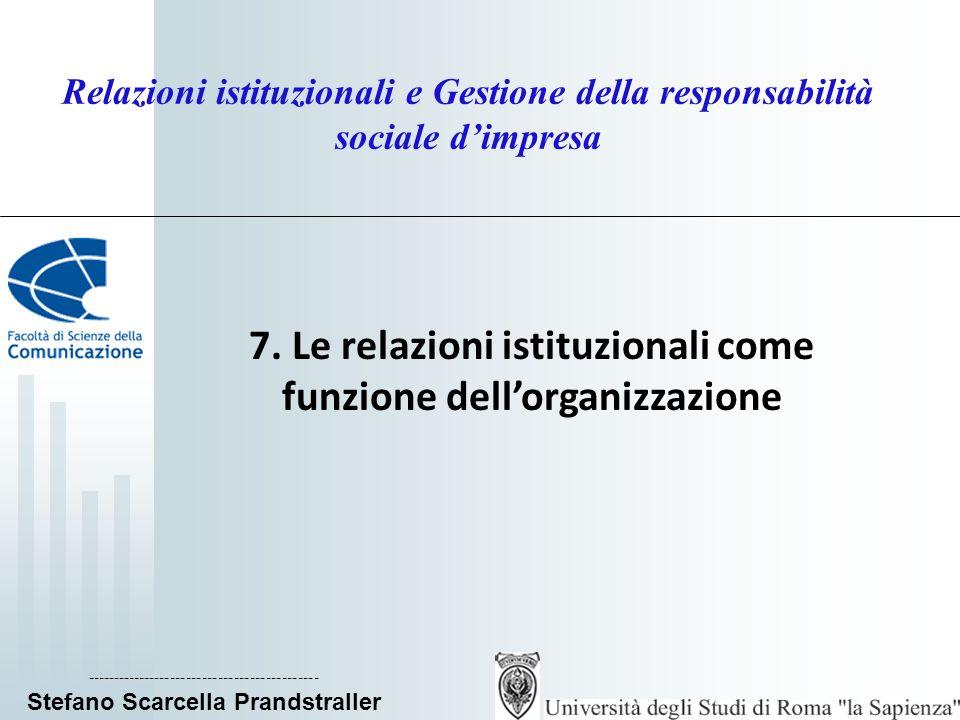 ____________________________ Stefano Scarcella Prandstraller Relazioni istituzionali e Gestione della responsabilità sociale dimpresa Lorganizzazione come network l organizzazione-network è flessibile, dai confini ambigui e mutevoli e parte di una rete di organizzazioni; si sviluppa in un tessuto a variabile intensità transazionale; reti interistituzionali, rivolte allesterno dellorganizzazione; reti interfunzionali, attivate allinterno dellorganizzazione tra le diverse funzioni per un raccordo a livello strategico; Teoria del sistema vitale: evoluzione dellapproccio sistemico che si focalizza sulle relazioni tra le parti del sistema; una corretta gestione delle relazioni fra il sistema (organizzazione), i suoi sotto-sistemi (unità organizzative) e i sovra-sistemi (ambiente di riferimento) consente lo sviluppo di una struttura organizzativa con un alto grado di coerenza fra i sotto-sistemi e una sintonia di finalità con i sovrasistemi.