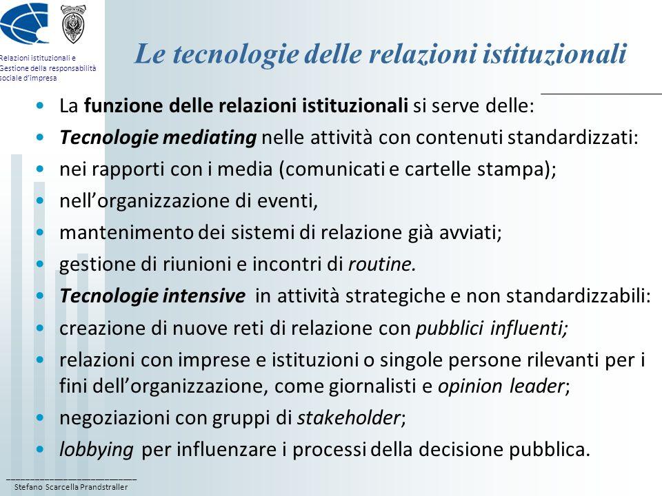 ____________________________ Stefano Scarcella Prandstraller Relazioni istituzionali e Gestione della responsabilità sociale dimpresa Le tecnologie de