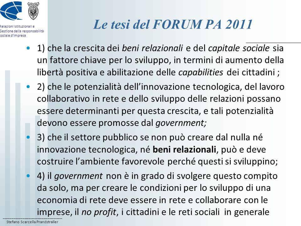 ____________________________ Stefano Scarcella Prandstraller Relazioni istituzionali e Gestione della responsabilità sociale dimpresa Le tesi del FORU