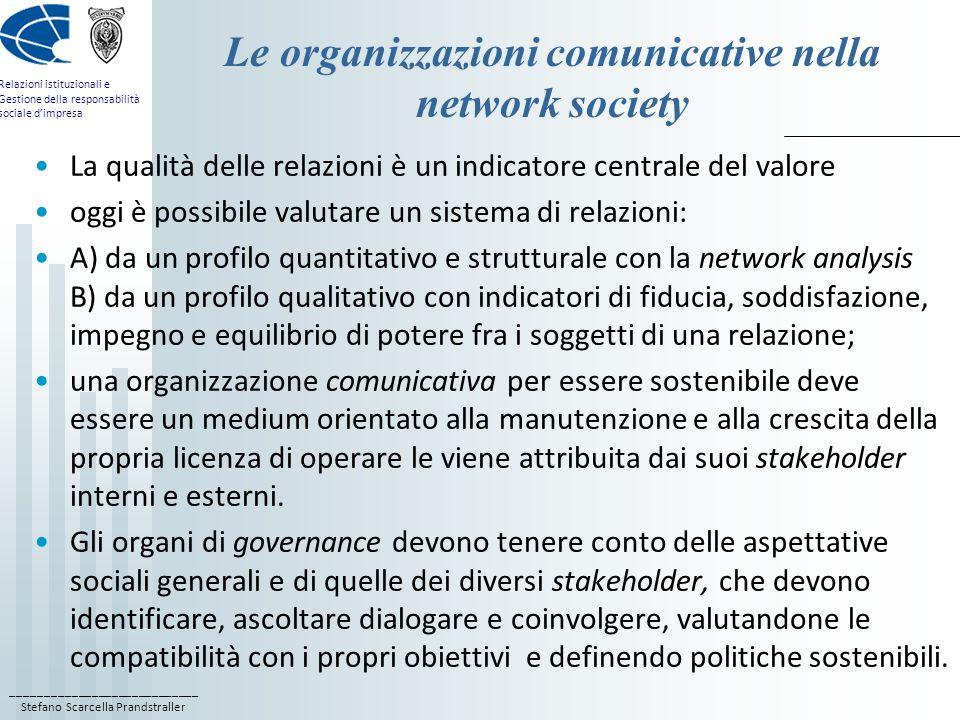 ____________________________ Stefano Scarcella Prandstraller Relazioni istituzionali e Gestione della responsabilità sociale dimpresa Le organizzazion