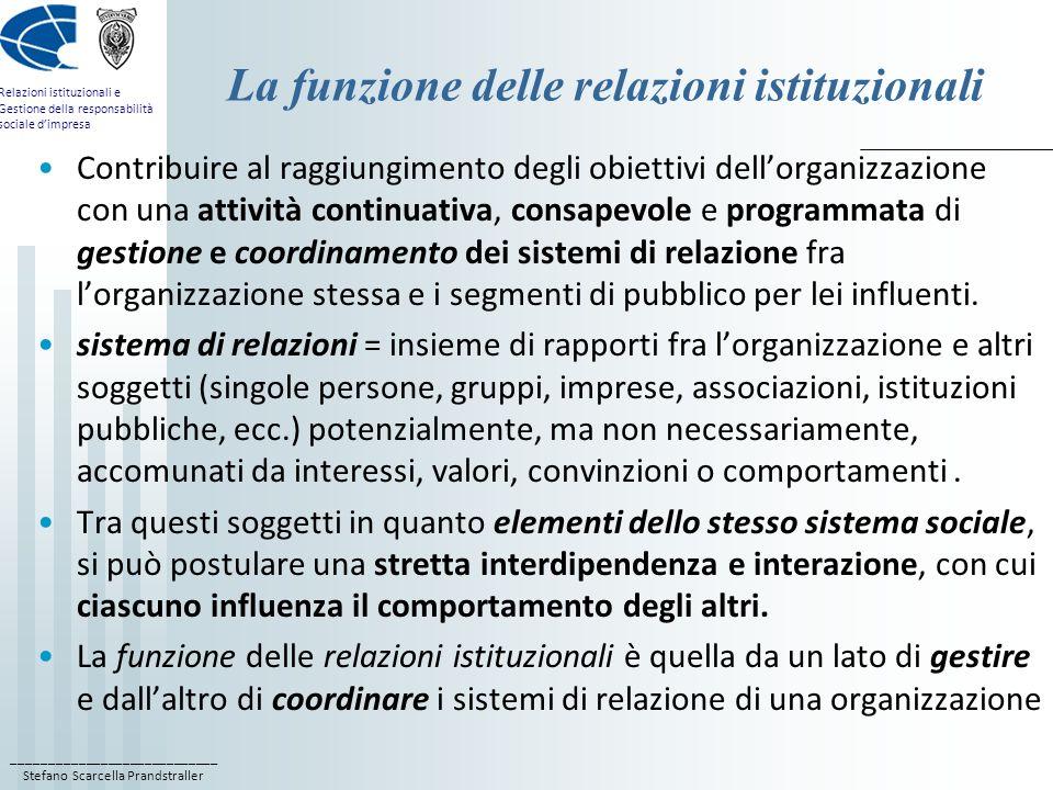 ____________________________ Stefano Scarcella Prandstraller Relazioni istituzionali e Gestione della responsabilità sociale dimpresa Lambito del coordinamento L ambito del coordinamento si riferisce ad una attività a carattere concorrente per quei sistemi di relazione normalmente intrattenuti da altre funzioni dellorganizzazione: dalla funzione commerciale, con la rete commerciale e la distribuzione; dalla funzione marketing, con la rete degli operatori del mercato e i consumatori (marketing p.r.); dalla funzione acquisti, con la rete dei fornitori; dalla funzione finanziaria, con gli istituti di credito e gli azionisti (financial p.r.); dalla funzione risorse umane, con i dipendenti (comunicazione interna) e le organizzazioni sindacali.