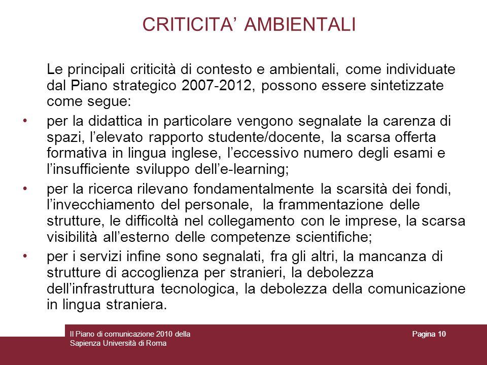 Il Piano di comunicazione 2010 della Sapienza Università di Roma Pagina 10 CRITICITA AMBIENTALI Le principali criticità di contesto e ambientali, come